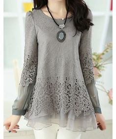 - Material: Lace - Clothing Length: Regular - Sleeve Length: Full - Collar: Scoop Neck - Style: Casual - Color: GRAY - Size: 2XL Item Code :BK2195798MYTG - Pattern Type: Patchwork - Weight: 0.3KG - Pa