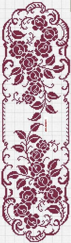 hibiscus flowers cross stitch patterngrafico de colcha renda bedspread from graphic layout lace - PIPicStats Filet Crochet Charts, Crochet Motifs, Thread Crochet, Crochet Doilies, Knit Crochet, Crochet Table Runner, Crochet Tablecloth, Doily Patterns, Crochet Patterns