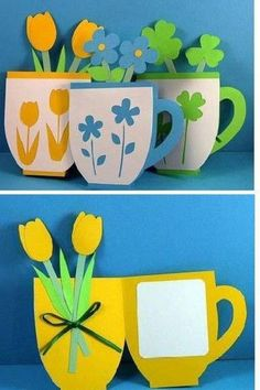 50 Awesome Spring Crafts for Kids Ideas - Bastelideen Kinder Kids Crafts, Diy Mother's Day Crafts, Mother's Day Diy, Creative Crafts, Preschool Crafts, Paper Crafts, Diy Cards For Mother's Day, Preschool Classroom, Diy Gifts For Mothers