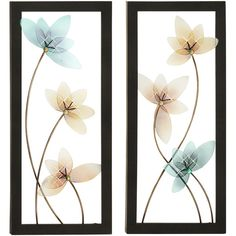 Enterprises Spring Jewel Large Hand-crafted LED Lights Metal Wall Art... ($99) ❤ liked on Polyvore featuring home, home decor, multi, floral home decor, spring home decor, black home decor, handmade home decor and metal screen