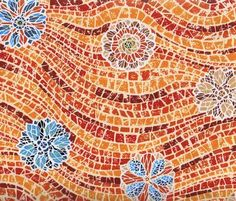 Terracotta Floral Waves, Mostly Mosaics by Blank Quilting