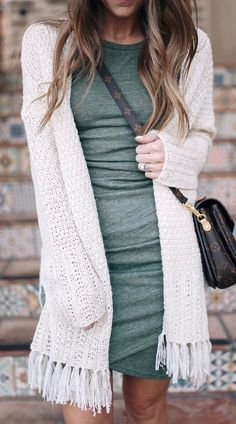 Olive green tight dress with white sweater cardigan