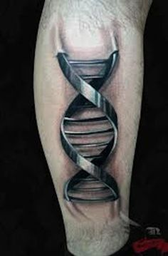 double helix strand of DNA.. I love the detail of  where the strand enters the leg, great 3D effect. Great tattoo artist!