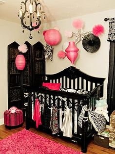 jenna von baby nursery. Love the ribbon hanging on the front of the crib