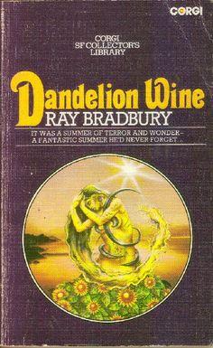 Dandelion Wine by Ray Bradbury Dandelion Wine Ray Bradbury, Purple Backgrounds, Book Cover Art, Corgi, Libros, Corgis
