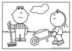 Frokkie en Lola aan het werk in de tuin Spring Theme, Plantation, Snoopy, Printables, Fictional Characters, Art, Garden Centre, Drawings, Butterflies