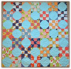 Happy Go Lucky by Bonnie & Camille/Moda snowball quilt top by the Sewing Chick