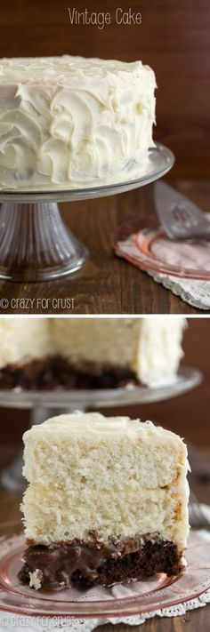 Vintage Brownie Surprise Cake | crazyforcrust.com | White cake, brownie, chocolate sauce, and cream cheese frosting!