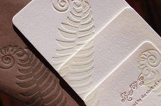 Letterpress Wedding Invitations - LETTERPRESS - Loving Fern - Set of 100 by Invited Ink. $1,175.00, via Etsy.