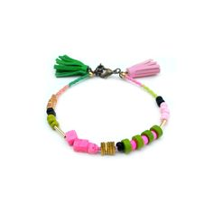 Green and Hot Pink Leather Tassel Bracelet, Neon Stacking Layering ...