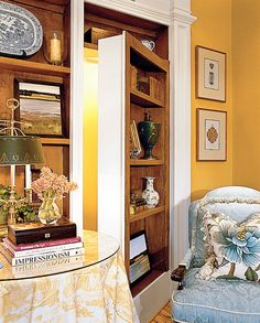 Sitting Room Hidden door Bookcase Door Designed by John Tee, Southern Living Idea House 2002 House Design, English Cottage Style, House, Hidden Rooms, Hidden Door Bookcase, Home, Southern Living Homes, Selling House, Southern Living House Plans