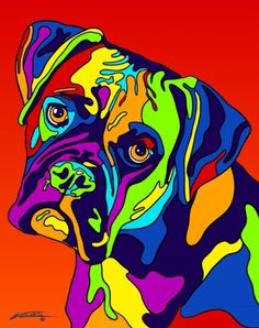 Multi-Color Boxer Dog Breed Matted Prints & Canvas Giclées