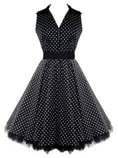 50's V-Neck Prom Polka Dot Dress Black $58.99