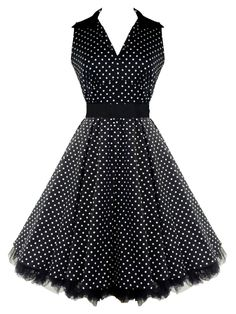 50's V-Neck Prom Polka Dot Dress Black $58.99