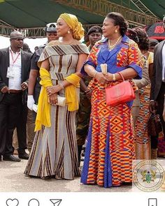: Wives: Second Lady and First Lady at the Saturday inauguration of Ghanaian president and Vice President H.E (NADAA) and Bawumia at the independence square in Accra. African Lace Dresses, African Dresses For Women, African Attire, African Wear, African Women, African Style, African Clothes, Ghana Fashion, African Fashion Ankara