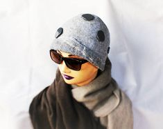 Light Grey Hat with Dark Grey Decor Wool Felted Hat Norwegian Wool OOAK Hat Felted hats Unique Felt Beanie Designer Hat Handmade Eco Fashion Felt Hat, Wool Felt, Grey Hat, Fiber Art, Dark Grey, Trending Outfits, Etsy, Decor, Fashion