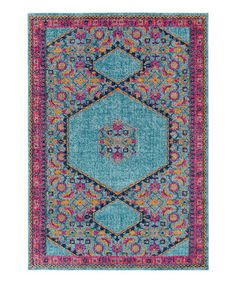 Look at this #zulilyfind! Teal & Pink Hexagon Indoor Rug #zulilyfinds