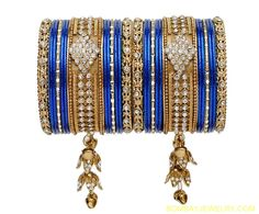 stone studded golden and blue jhumar bangle[Regular Price:                                    $40.25                                                                    Now only:                                    $20.13]