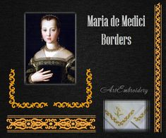 "Maria de Medici Borders - Machine Embroidery Designs Set of two borders in different combinations for hoop 5x7 and 6x8""."