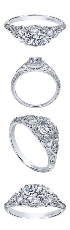 A favorite For the classic woman in your life. A 14k White Gold Victorian Halo Engagement Ring.