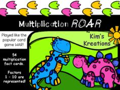 Multiplication ROAR Giveaway! - I am celebrating the release of a new product.  This Multiplication ROAR activity (played like the card game War) is a great way for students to practice their multiplication facts!  It's also on sale for $1.00 in my shop right now!.  A GIVEAWAY promotion for Multiplication Roar (played like the card game War) from Kim's Kreations on TeachersNotebook.com (ends on 6-3-2015)