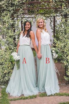 2 Pieces Ivroy And Mint Long A-Line Flowy Simple Cheap Elegant Bridesmaid Dresses, SJS, This dress could be custom made, there are no extra cost to do custom size and color. 2 Piece Bridesmaid Dress, Elegant Bridesmaid Dresses, Blue Bridesmaids, Wedding Party Dresses, Prom Dresses, Bridesmade Dresses, Burgundy Bridesmaid, Graduation Dresses, Dresses Uk