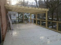 Deck roof from privacy fence