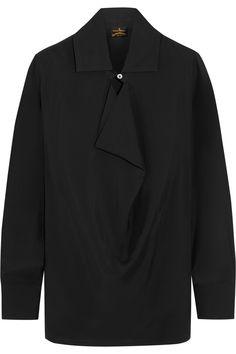 Vivienne Westwood Anglomania|Draped crepe de chine blouse|NET-A-PORTER.COM