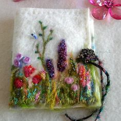 Reserved for Beedy- Needle Case Garden of Delight, Felted Wool with hand embroidery and beads and pin assortment Wool Embroidery, Wool Applique, Ribbon Embroidery, Needle Case, Needle Book, Needle Felting, Vintage Sewing Notions, Vintage Sewing Machines, Sewing Spaces