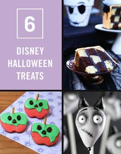 These Disney Halloween treats will get your kids in the true spirit of the spooktacular season. Recipes include: a Nightmare Before Christmas checkerboard cake, Mickey Mouse mummy cupcakes, Sparky cake pops, Evil Queen's poison apple cookies, Oogie Boogie cupcakes, and a Pirates of the Caribbean skeleton hand.
