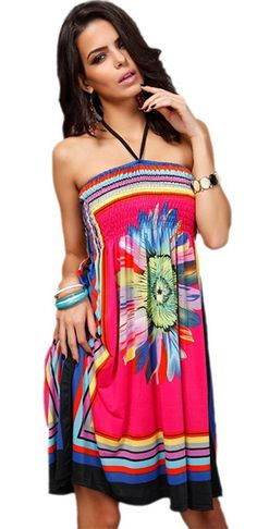 Honeystore Women's Boho Sunflower Print Summer Hawaiian Beach Casual Dress *** Discover this special product, click the image : Women's dresses