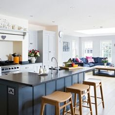 Looking for blue cabinets for your kitchen makeover? Check out these kitchen cabinet ideas for inspiration of your new kitchen decor! Living Room And Kitchen Design, Open Plan Kitchen Living Room, Kitchen Design Open, Kitchen Family Rooms, New Kitchen, Kitchen Decor, Kitchen Ideas, Awesome Kitchen, Kitchen Corner