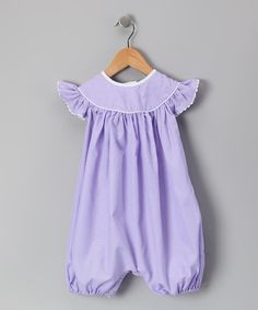 Take a look at this Light Purple Gingham Romper - Infant & Toddler by Barefoot Childrens Clothing on #zulily today!