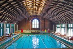 Beautiful roof over the swimming pool - Fairmont Chateau Montebello