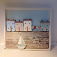 Harbour in a box with washing line. #seaside #sea #driftwood #handmade #coast #cottages #sailboat