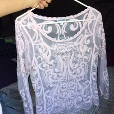 See through light pink top Never worn! Very pretty and great for the spring/summer months Express Tops Tees - Long Sleeve