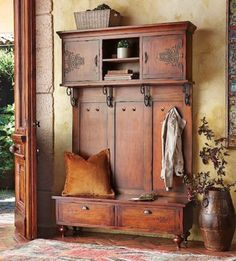 Entryway Hall Tree Bench to Rest and Storage Tree Furniture, Entryway Furniture, Rustic Furniture, Entryway Decor, Vintage Furniture, Tuscan Furniture, Entryway Hooks, Furniture Buyers, Furniture Stores