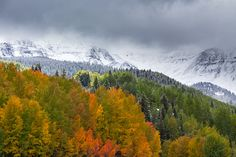 Beautiful fall day with snow on the upper peaks.