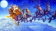 Santa Claus flying on his sleigh with Christmas gifts drawing art desktop wallpaper Reindeer of Santa Claus with gifts for Christmas pictur. Merry Christmas To All, Christmas Scenes, The Night Before Christmas, Noel Christmas, Father Christmas, Christmas Pictures, Vintage Christmas, Christmas Stockings, Christmas Gifts