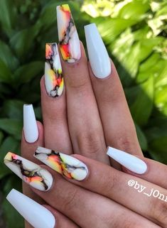 54 Trendy And Classy Coffin Nails Designs Summer Nails Ideas - white coffin nails design, acrylic co Coffin Nails Designs Summer, Summer Acrylic Nails, Best Acrylic Nails, Coffin Nail Designs, Acrylic Nail Designs For Summer, Acrylic Nail Designs Classy, Dope Nail Designs, Summer Stiletto Nails, White Summer Nails
