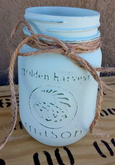 Mason Jar Candle by TheBurlapDaisy on Etsy