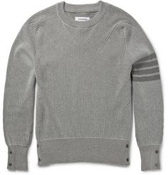 Thom Browne Ribbed Cotton Sweater   MR PORTER