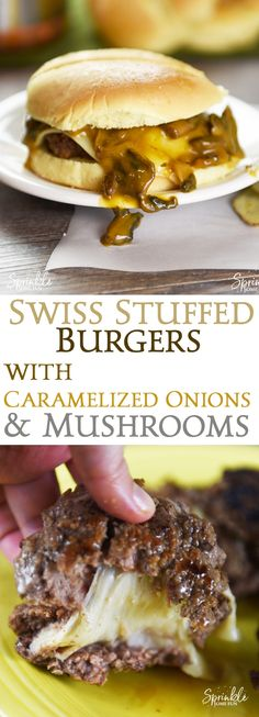 Swiss Stuffed Burgers with Caramelized Onions and Mushrooms are a favorite combo that's taken to the next level. It's a recipe for sharing! via @sprinklesomefun