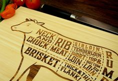 Cuts of Beef Cutting Board Pictured in Natural approx. by WoodKRFT, $44.00