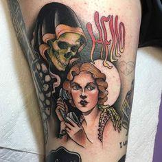 Hello Death by @courtmello at Lost Art Gallery in Oakville Connecticut. #death #hellodeath #grimreaper #reaper #courtmello #lostartgallery #oakville #connecticut #tattoo #tattoos #tattoosnob