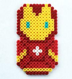 Perler Bead Chibi Bean Avengers Iron Man Fridge Magnet or Wall Art by theplayfulperler