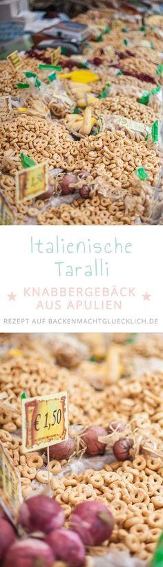 Taralli sind kleine herzhafte Gebäckkringel aus Italien, die man mit verschiedenen Gewürzen aromatisieren kann.