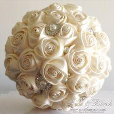 MADE TO ORDER Bridal/Wedding Bouquet Satin by RoseAndBirchBouquets