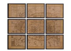 """J'adore  Map of Paris, 9 Frames  Show your house guests what a worldly dame you are with this instant collection of framed antique map fragments. Nine square sections in gilded frames combine to create the image of gay Paris. The perfect reminder of nights spent dancing to hot jazz in the City of Lights.   Dimensions  54""""H x 66""""W x 1""""D"""