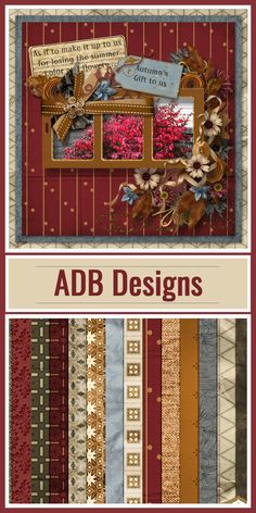 ADB Designs, Autumn Harmony Page Kit, is a combination of beautiful autumn inspired elements and papers accented with music specific elements. This is a kit that can be used to scrap the musicians in your life today or from the past as well as traditional heritage pages.